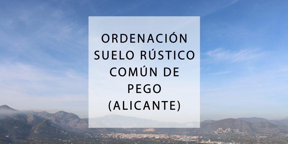 Ordenación del suelo rústico común del municipio de Pego (Alicante) 2019-2020